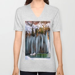 A spring that knows no summer  - Hanging Lake print  by Lena Owens Unisex V-Neck