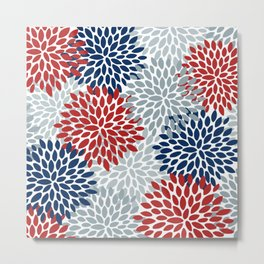 Floral Dahlia Print, Red, Navy, Blue, Gray Metal Print
