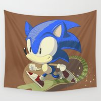 sonic Wall Tapestries featuring Sonic by Rod Perich