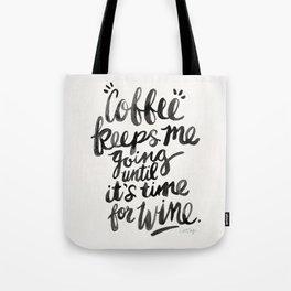 Coffee & Wine – Black Ink Tote Bag