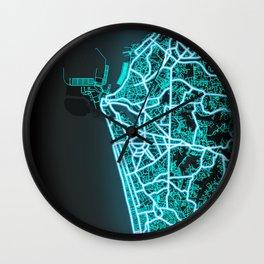 Colombo, Sri Lanka, Blue, White, Neon, Glow, City, Map Wall Clock