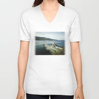 greek V-neck T-shirts featuring Greek landscape by MarioGuti