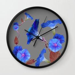 Grey Color Blue Morning Glory Art Design Pattern Wall Clock