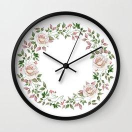 Watercolor Pale Rose Wreath Wall Clock