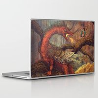 smaug Laptop & iPad Skins featuring Dragons Lair by Angela Rizza