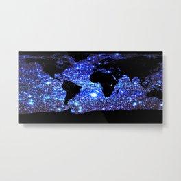 world Map Blue Swirl Galaxy Sparkle Metal Print