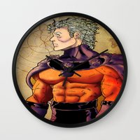 magneto Wall Clocks featuring magneto by Brian Hollins art