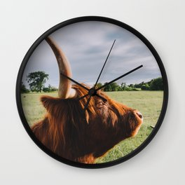 Majestic Highland Cow II Wall Clock