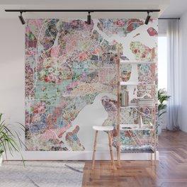 Jacksonville map flowers Wall Mural