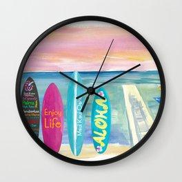 Surfboard Philosophy  - Enjoy Life, Travel and Surf - Surfboard Wall Wall Clock