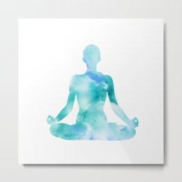 Yoga | Lotus Pose | Padmasana | Sacred Lotus | Asana | Meditation | Blue Metal Print