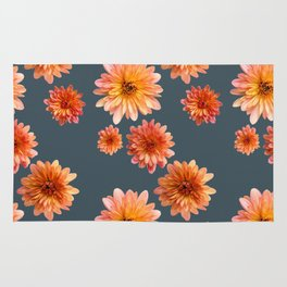 Coral Mum Floral Pattern - Scattered Flowers - Chrysanthemum Bloom Pattern - Real Flowers Rug