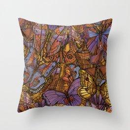 Moths and Butterflies Throw Pillow