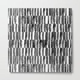 Black and White watecolor brush strokes Metal Print