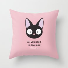 All you need is love and meow! Throw Pillow