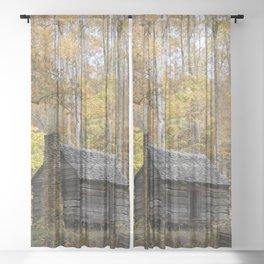 Smoky Mountain Rural Rustic Cabin Autumn View Sheer Curtain