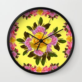 PINK ROSE GARDEN YELLOW  ROSES FLOWERS Art Wall Clock