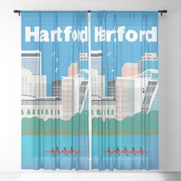 Hartford, Connecticut - Skyline Illustration by Loose Petals Sheer Curtain