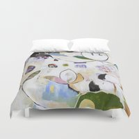 "flora bowley Duvet Covers featuring ""Letting Go"" Original Painting by Flora Bowley by Flora Bowley"