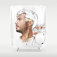 drums Shower Curtains featuring Drums by Lluna Llunera