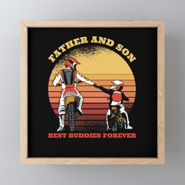 Father And Son Motorcycle Friends Forever Framed Mini Art Print