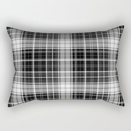 in mono plaid charcoal and darker Rectangular Pillow