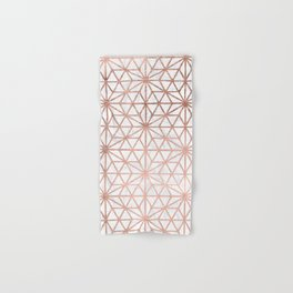 Modern rose gold stars geometric pattern Christmas white marble Hand & Bath Towel