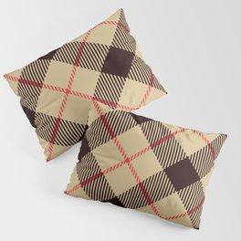 Tan Tartan with Diagonal Black and Red Stripes Pillow Sham