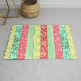 Lily & Lotus Layers in Mint Green, Coral & Buttercup Yellow Rug