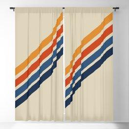 Rainbow 70s 60s Stripe Colorful Rainbow Tan Retro Vintage Blackout Curtain
