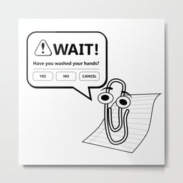 Wash Your Hands - Paperclip Office Assistant Metal Print