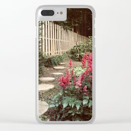 Tall Red Flowers & Path Clear iPhone Case