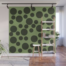 Army Green Dots Wall Mural