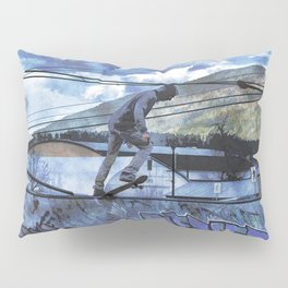 Tipping Point -Skateboarder Launching - Outdoor Sports Pillow Sham