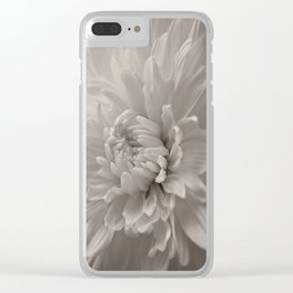 Monochrome chrysanthemum close-up Clear iPhone Case