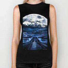 Road to Eternity (blue vintage moon mountain) Biker Tank