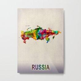 Russia Map in Watercolor Metal Print