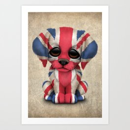 Cute Puppy Dog with flag of Great Britain Art Print