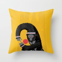 king Throw Pillows featuring King Kong Ping Pong by Wharton