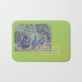 THANKSGIVING GREETINGS & WILD TURKEYS Bath Mat
