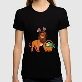 Egg hunting Lion with Easter Bunny Ears | Easter graphic T-shirt