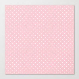 Mini White Polka dots on Pale Millennial Pink Pastel Canvas Print
