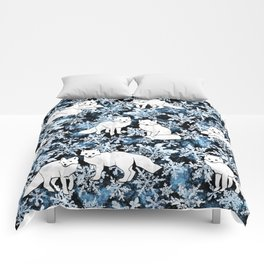 Foxes & Flakes (Blue Version) Comforters
