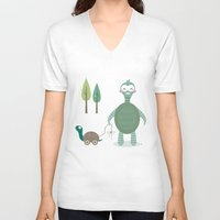 tortoise V-neck T-shirts featuring Tortoise by Esther Ilustra