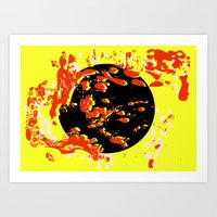Worlds Protected No. 3 with Yellow Background Art Print