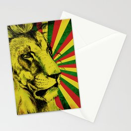 Rasta Lion / Rastafarian Red Gold Green Lion Stationery Cards