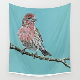 Painting of a Male House Finch  Wall Tapestry