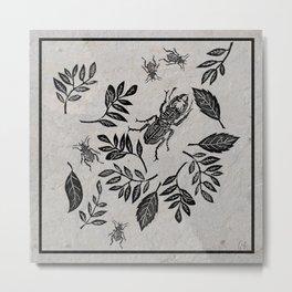 beetles and leaves Metal Print