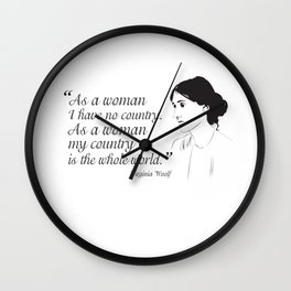 Virginia Woolf Feminist Quote Wall Clock