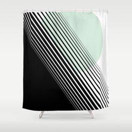 Rising Sun Minimal Japanese Abstract White Black Mint Green Shower Curtain